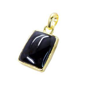 PENDENTIF VENDU SEUL Pendentif onyx noir - Pendentif Plaqué Or - Penden