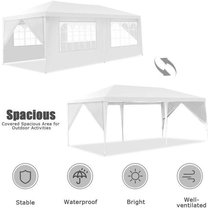 3x6m Tonnelle Pliante Impermeable, Tente de Réception en Tube Acier, Bâche Imperméable en PE, pour Jardin, Terrasse, Activités