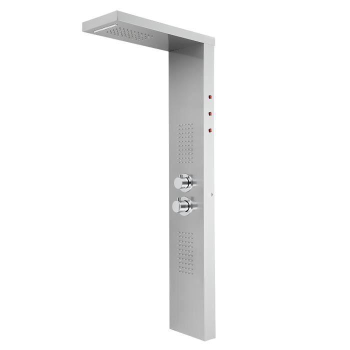 HOMPOT® Écran de douche à température constante à LED en acier inoxydable brossé 22 * 45 * 125cm