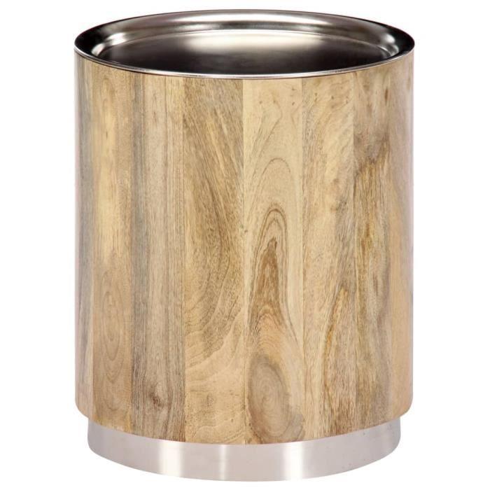DEX-Table Basse-Table d'Appoint-Table de Chevet en Bois de Manguier Fabrication à la Main Style Industriel 38 x 45 cm-Style