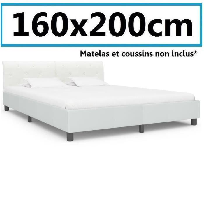 Lit Sommier 160x200cm daim cuir artificiel grand adulte Chambre invité design avec dossier Blanc luxe style