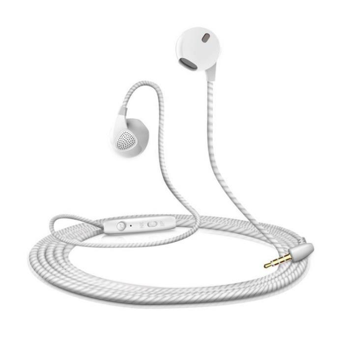 Ecouteurs Plat pour OPPO Reno 10x Zoom Smartphone avec Micro Reglage Kit Main Libre Casque Universel Prise Jack (BLANC)