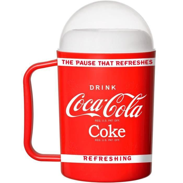 Coca-Cola Coke 36-1C-003 Mug Verre à granité magique Coca Avec couvercle et paille cuillère Rouge blanc et transparent D9 x H17 cm