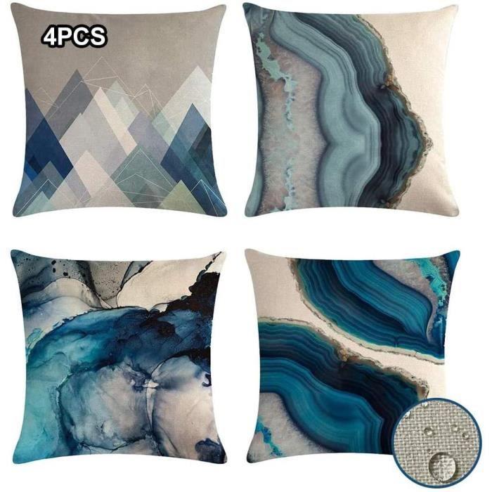 Lot de 4 housses de coussin carrées imperméables 45 x 45 cm - Texture bleue - 45,7 x 45,7 cm - Pour intérieur ou extérieur - Pour vo