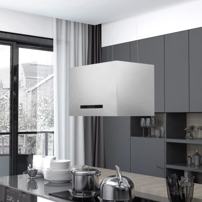 Hotte aspirante décorative cuisine 55 x 37 x (62-133,5) cm (l x P x H)- 3 vitesses- suspension plafond - Evacuation et recyclage -à