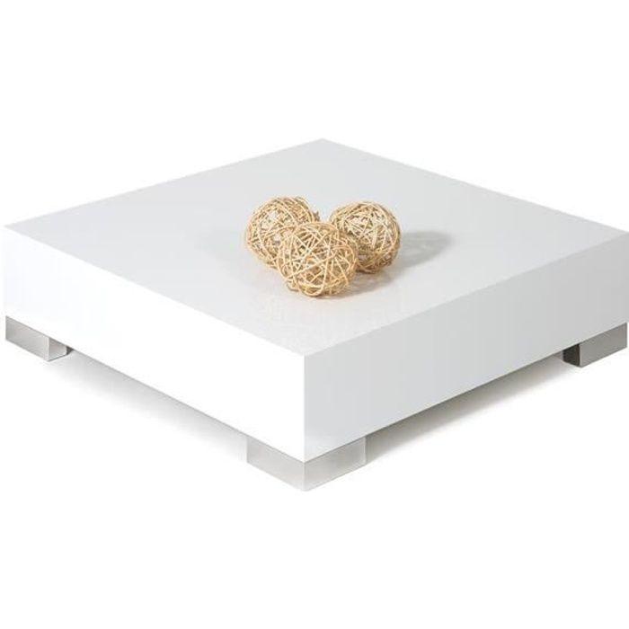 Mobili Fiver, Table basse carrée, iCube 60, Blanc laqué brillant, Mélaminé/Acier INOX satiné, Made in Italy