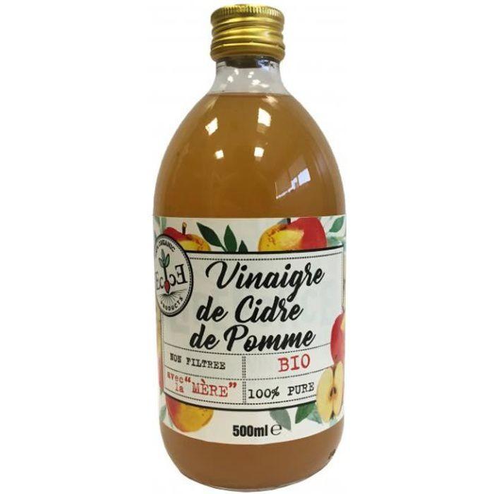 Vinaigre de cidre de pomme pure non filtré avec la mère 0.5l - Ecovinal