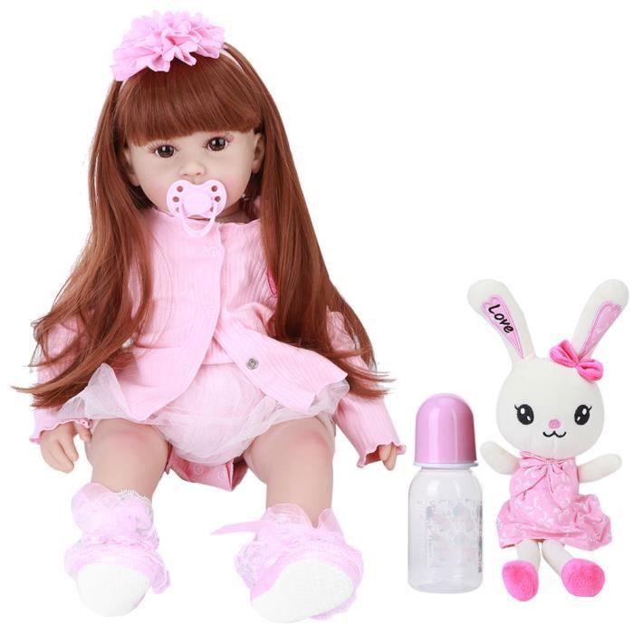 AYNEFY enfant en bas âge Reborn Reborn Toddler Silicone Baby Girl Doll Vivid Creativity Present Beautiful Baby Toy 60cm (Brown