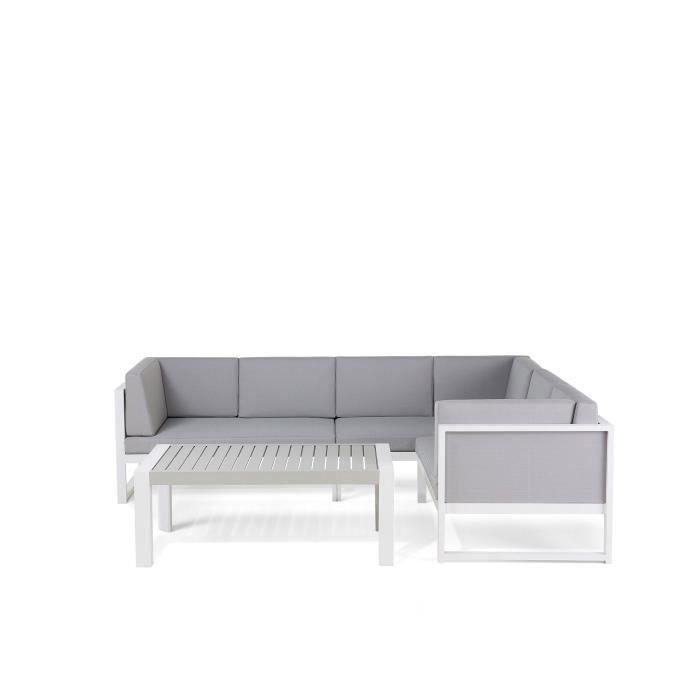 Salon de jardin - Canapé d angle et table basse - aluminium - blanc et gris - Vinci
