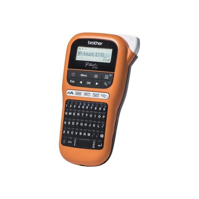 Brother P-Touch PT-E110 - Étiqueteuse - monochrome - transfert thermique - Rouleau (1,2 cm) - 180 dpi - jusqu'à 20 mm-sec