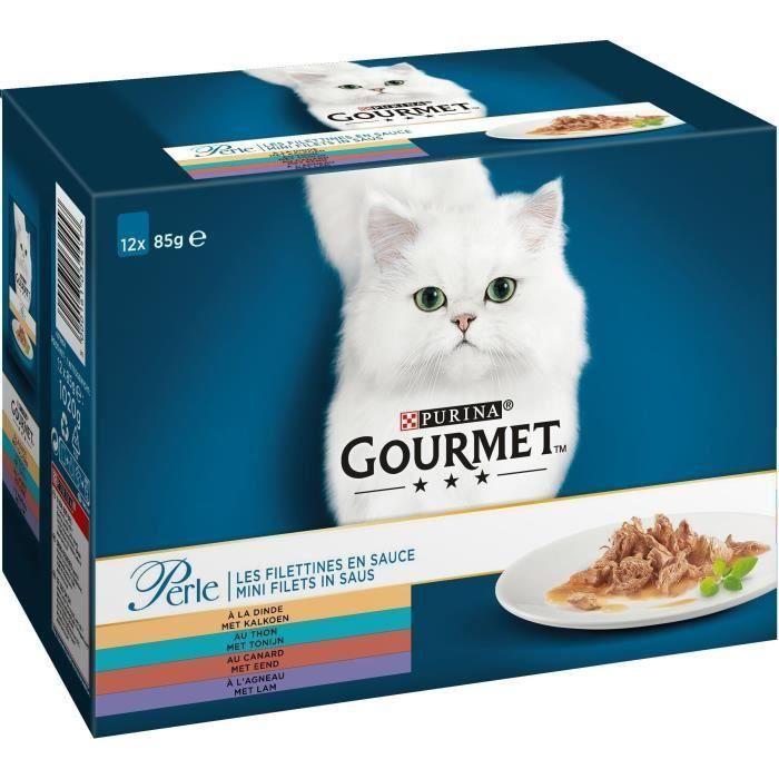 GOURMET Perle Les Filettines en sauce - Sachets fraîcheur - Pour chat adulte - 12 x 85 g (Lot de 2)