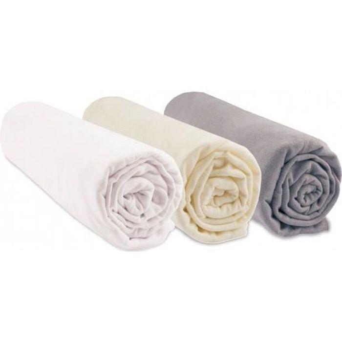 Lot de 3 draps housses coton bio - 70x160 - Noisette blanc écru