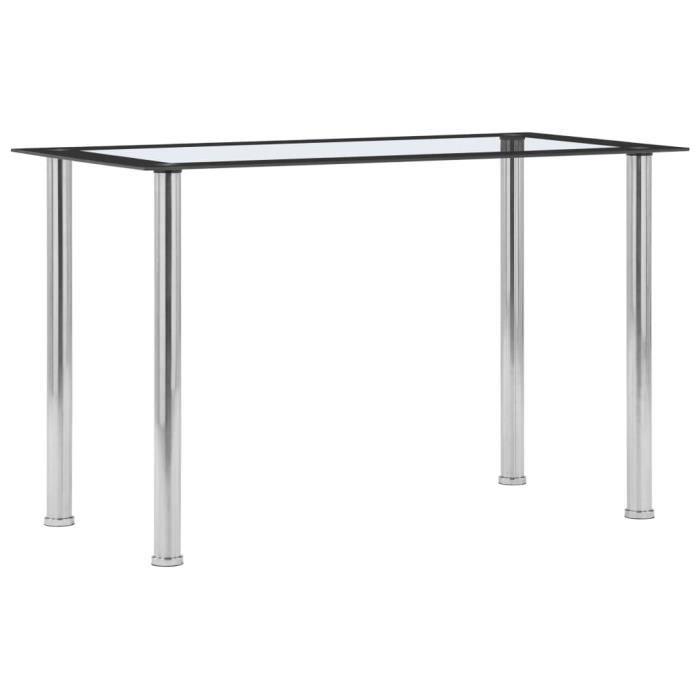 YWT ♪♪♪ Table à dîner Noir et transparent 120x60x75 cm Verre trempé