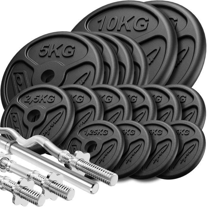 Marbo Sport Set d'haltères renforcés et de poids minces ø30mm 83 kg