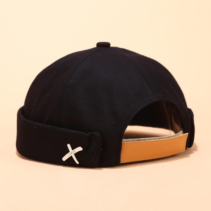 Hommes Femmes Chapeau Casquette Casual Docker Sailor Mechanic Brimless Solid Color Hat_LR9596