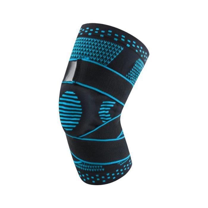 PROTEGE-CHEVILLES - CHEVILLERE,1PC sport genouillère professionnel pressurisé élastique genouillères soutien basket - Type Bleu-XL