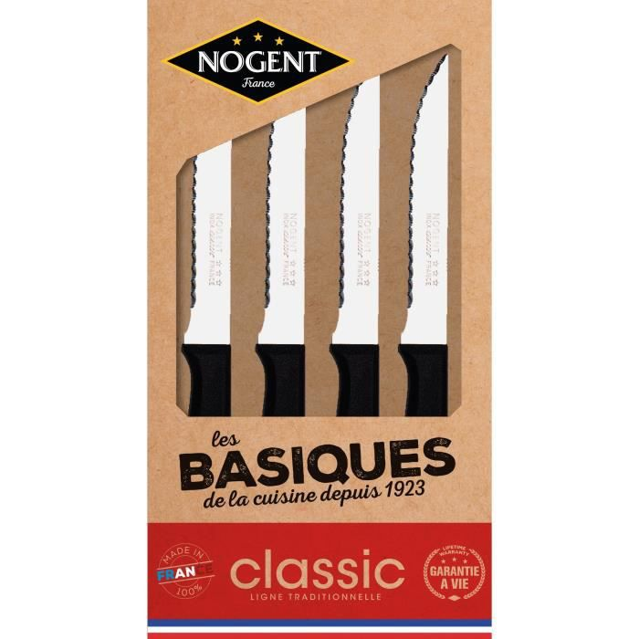 Coffret kraft 4 couteaux à steak Nogent*** - Polypropylène noir