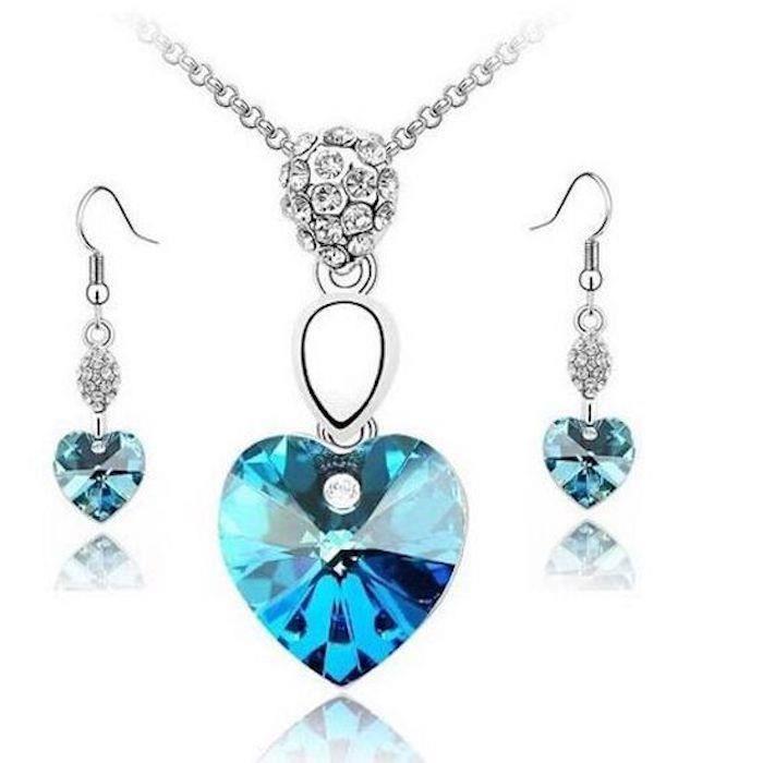 Parure Bijoux Coeur Cristal Swarovski Elements Turquoise Plaqué Or Blanc 750