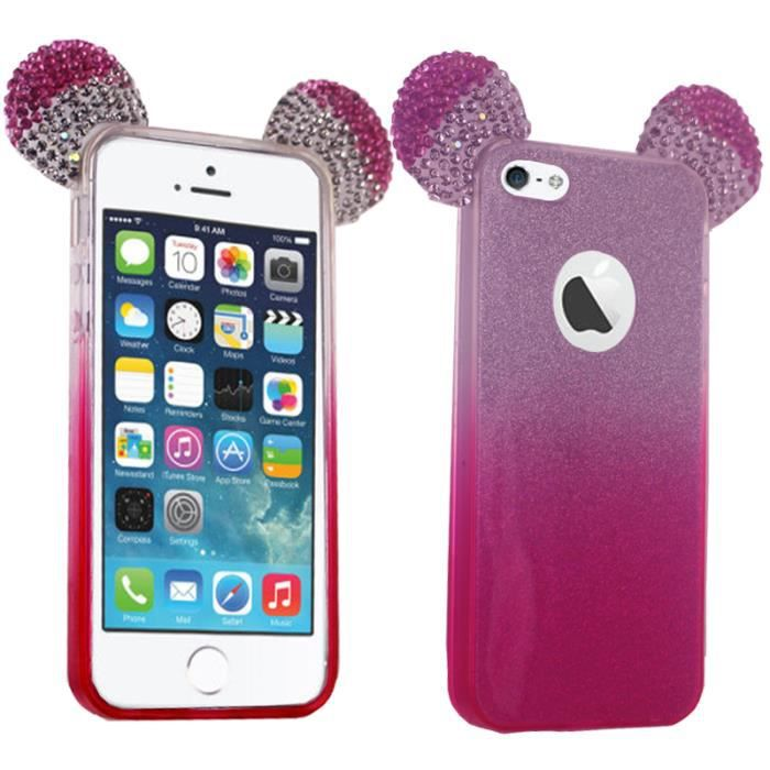 coque silicone strass paillettes oreilles mickey r