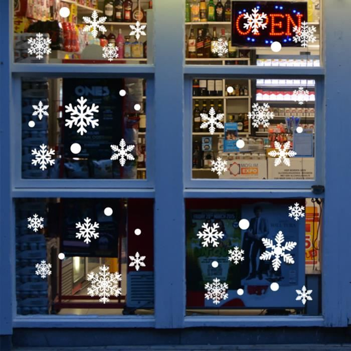 60 Noël Flocon de neige autocollants Fenêtre Décoration Amovible Réutilisable Vinyle Noël