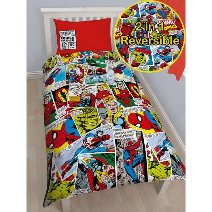 housse de couette marvel comics 1 personne achat vente housse de couette cdiscount. Black Bedroom Furniture Sets. Home Design Ideas