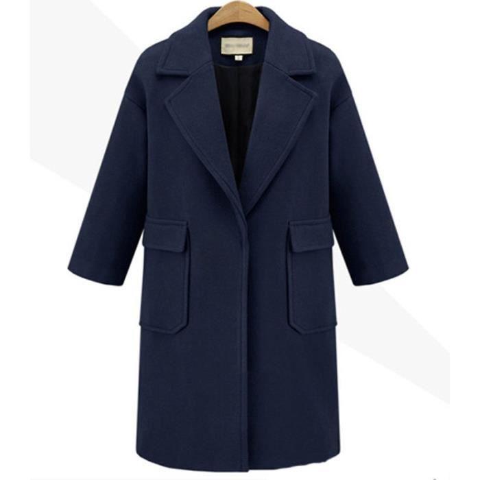Bleu marin Manteau Femme Longue Laine Col Revers avec Poche Boutonné M 3XL Grande Taille Nouveauté Amincissant Automne Hiver