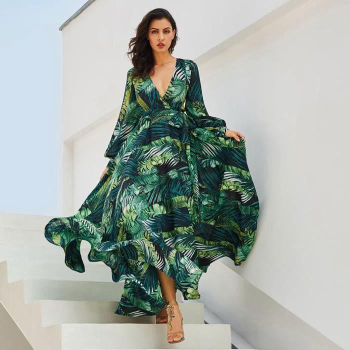 Femmes Robe Longue En Mousseline De Soie D Impression Mode Manches Longues Col En V Profond Ceinture Robe Longue Vert Vert Achat Vente Robe Cdiscount