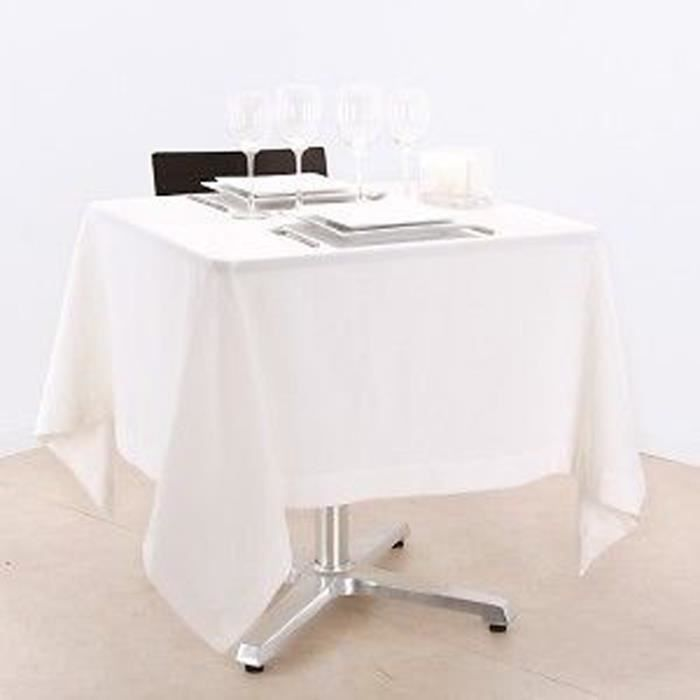 Nappe carr e en ivoire 150 x 150 cm achat vente nappe for Table carree 150 x 150