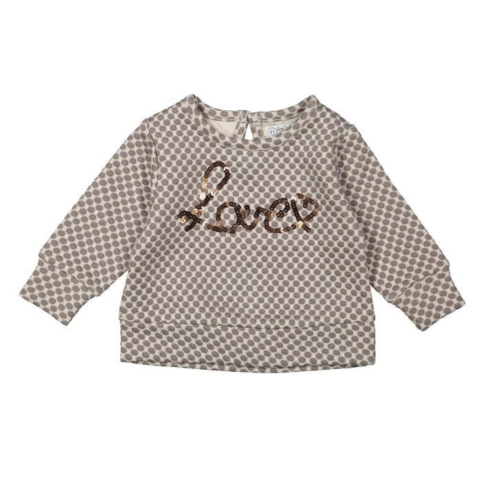 DIRKJE Pull à Message Lover Beige Enfant Fille