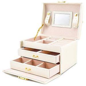 BOITE A BIJOUX BLEOSAN Boîte à Bijoux Blanc, Coffret à Bijoux 3 P