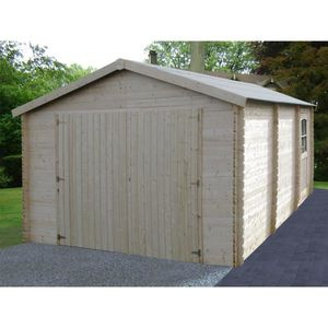 GARAGE Garage bois - 20 m² - 5.19 x 3.86 x 2.66 m - 34 mm