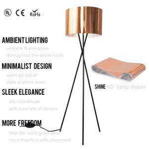 LAMPADAIRE  Lampadaire métal trépied avec abat-jour cuivré,ha