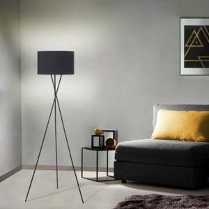 LAMPADAIRE Lampadaire trépied métal abat-jour noir