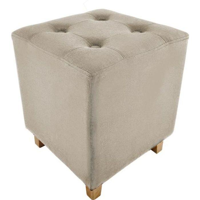 Poufs fauteuils et chaises - Pouf carré - Hyppolyte - 35 x 35 cm - Beige