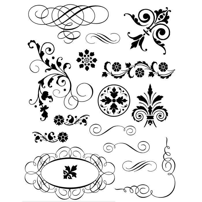 ARTEMIO Tampon Transparent Spirales et Arabesques