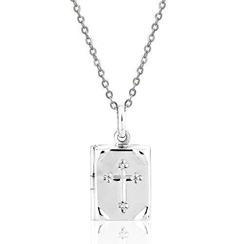 Chaine De Cou Vendue Seule Femmes 925 pendentif en argent sterling Bible Croix Médaillon , 17- X3NA4