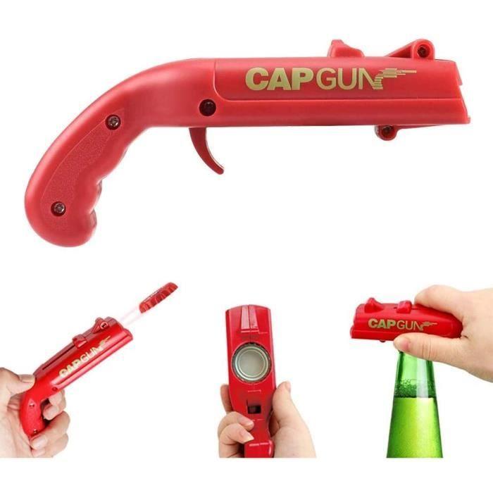 2pcs Ouvre-Bouteilles Cap Gun , Ouvre-Bouteille en Forme De Pistolet, Lanceur de catapultes De Bière, Décapsuleur Bière