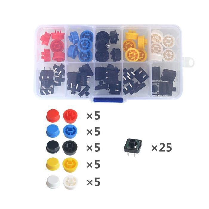 25 PIÈCES Tactile Interrupteur À Bouton-Poussoir Momentané 12127.3MM Micro bouton de commutation + 25 pièces Tact [B00F3C0]