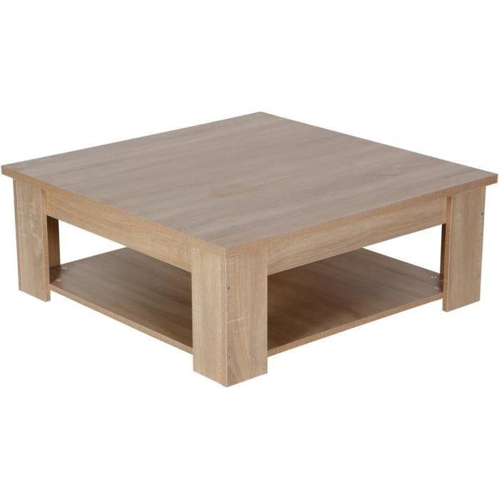 Table basse carrée -Lauren- - Chêne