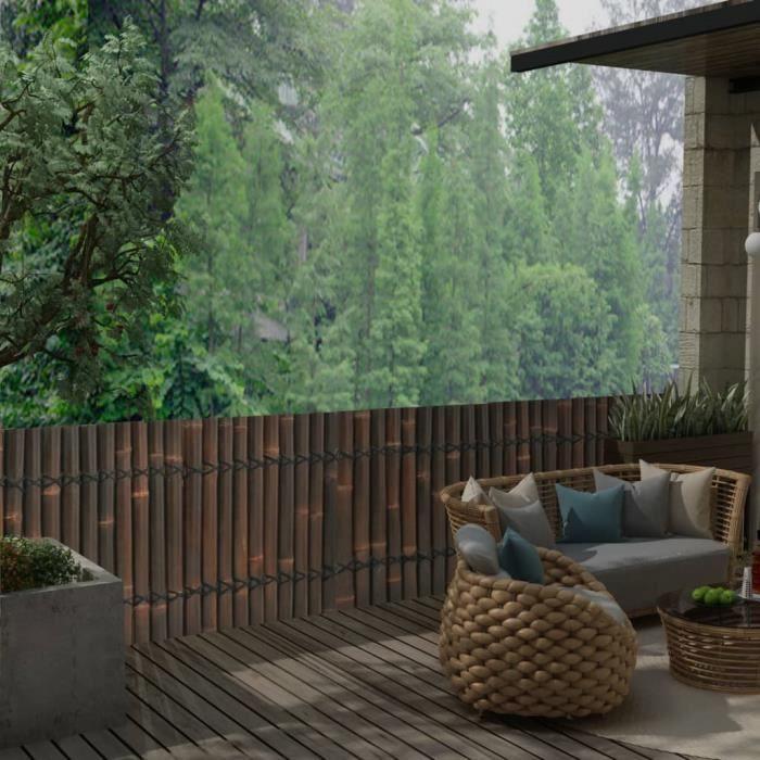 ♫9333 Panneau de jardin Classique - Clôture de jardin Brise vue Bambou 170x75 cm - Marron foncé FNCM®
