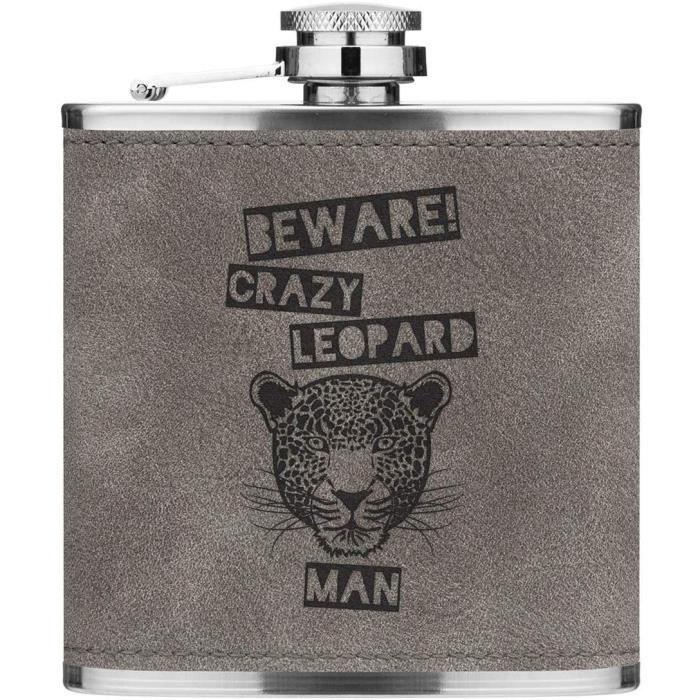 Attention Crazy Léopard Homme 170ml Cuir PU Hip Flasque Gris Luxe