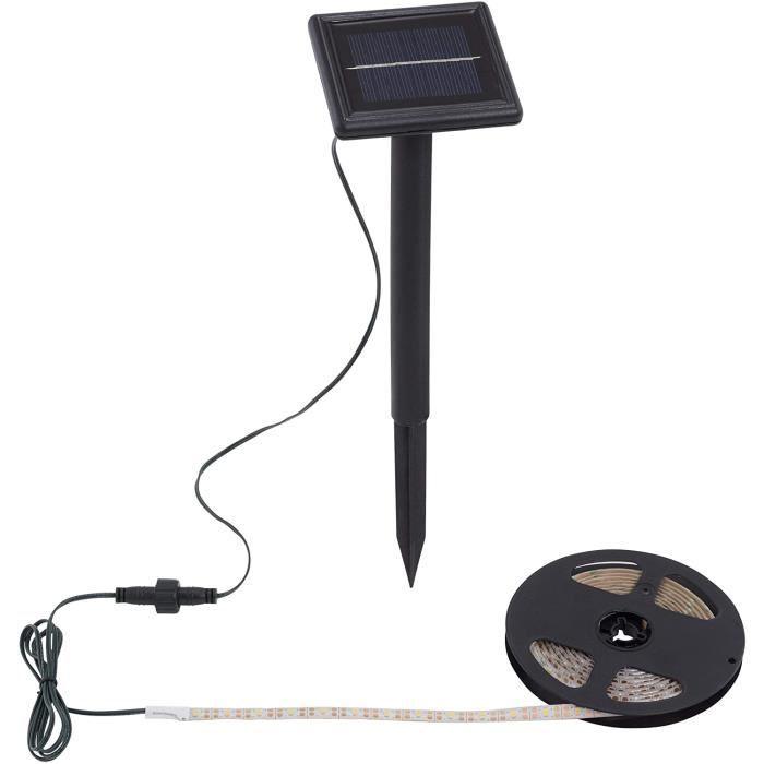 2055-180 Ruban LED extérieur avec panneau solaire IP65 en plastique Noir 300 x 9,5 x 33 cm