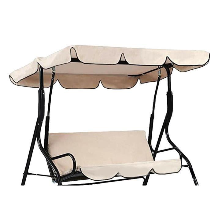 Canopée pour Balancelle Exterieur Imperméable Résistant Soleil Toit de Rechange pour Jardin ou Patio (Beige - Trois places)