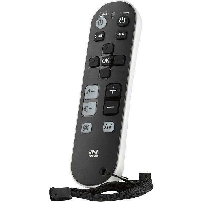 One For All TV Zapper Télécommande universelle - Contrôle jusqu'à 3 appareils TV Décodeur et Audio – conception simple – Compatible
