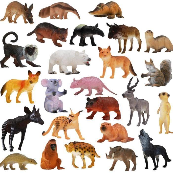 Pack de 25 Figurines Animaux Sauvages r&eacutealistes en plastique vinyl (10 cm). Lot de jouets d&rsquoapprentissage jungle et ani