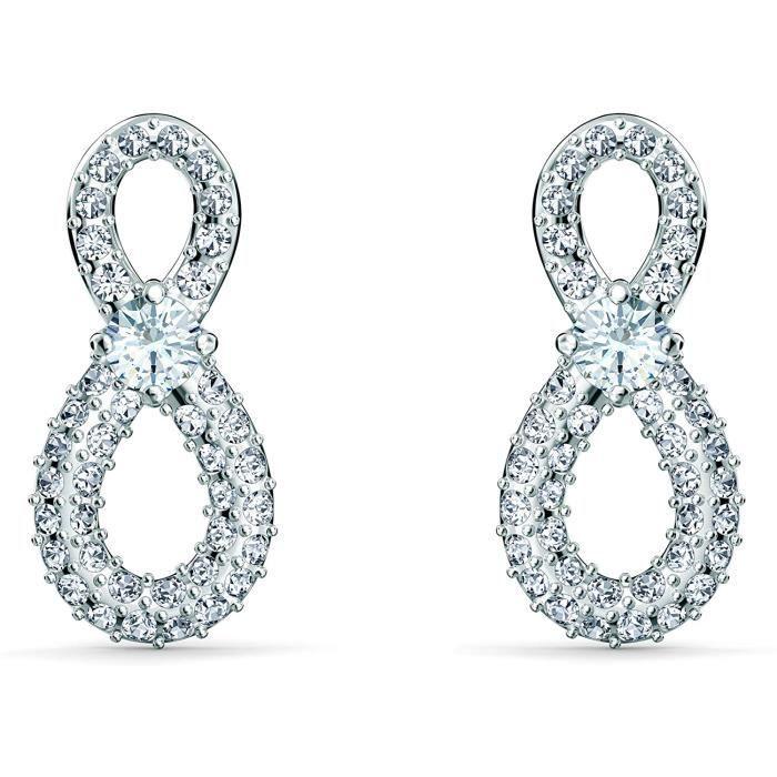 BOUCLE D OREILLE Swarovski Boucles d'oreilles Swarovski Infinity Mini, blanc, m&eacutetal rhodi&eacute603