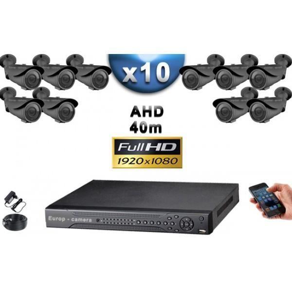 KIT PRO AHD 10 Caméras Tubes IR 40m Capteur SONY FULL HD 1080P + Enregistreur DV