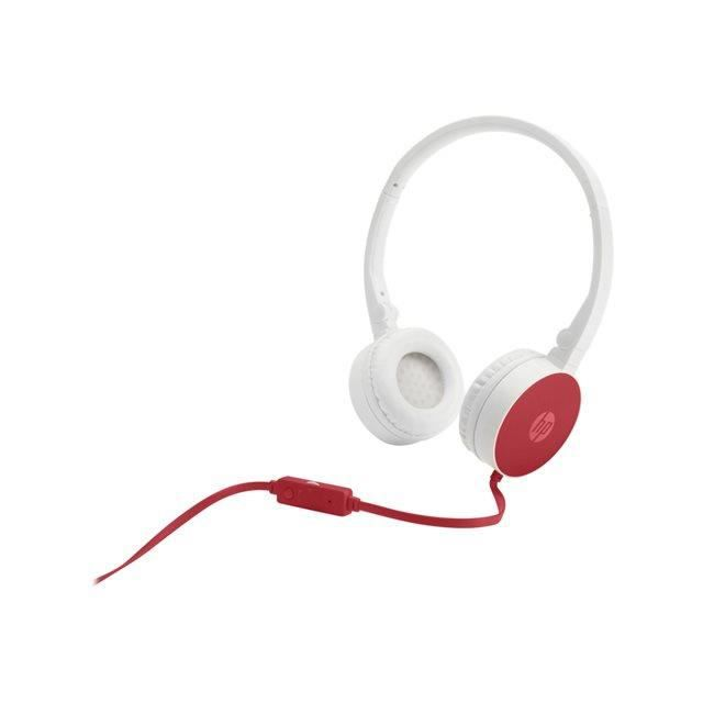 HP Casque stéréo avec micro - Stereo Headset H2800 - filaire - Rouge / Blanc