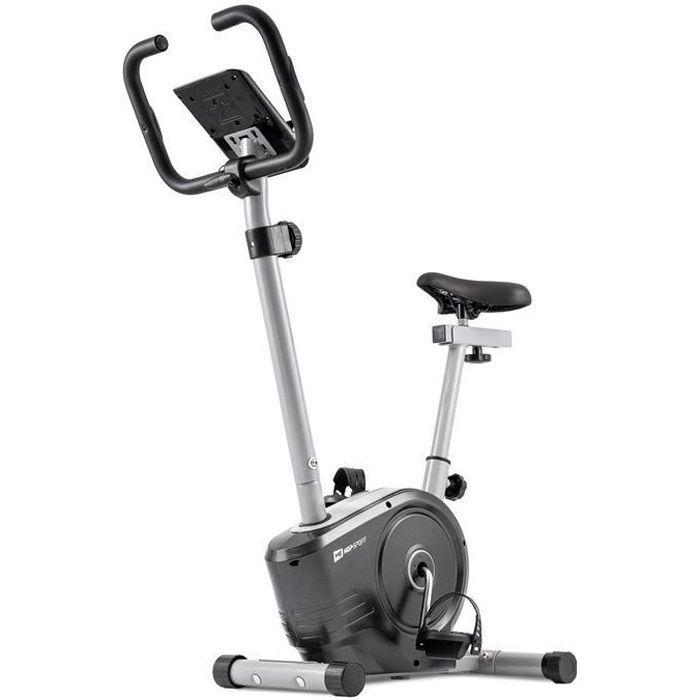 HOP-SPORT Vélo d'appartement HS-2050H Sonic – Roue d'inertie de 7kg- Max 120 KG - Vélo dimensions compactes - Réglable (Argenté)