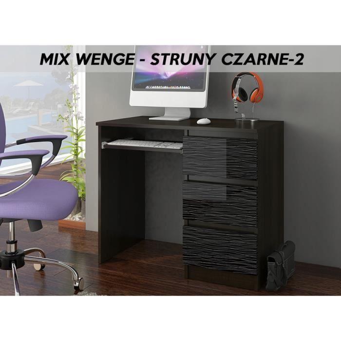 YORK 2WR- Bureau moderne informatique d'ordinateur 96x50x76 - Support clavier-3 tiroirs - Wengé Noir